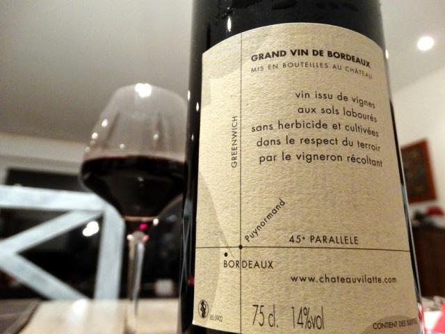 Au sec à la maison, quelques jours après la balade, à déguster un verre de Château Vilatte.
