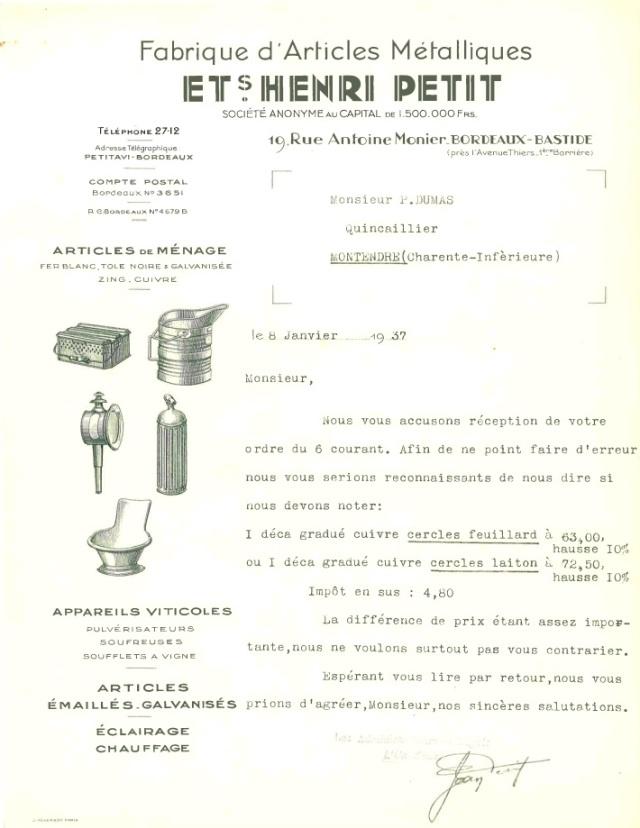 Facture de l'Usine Petit datée de 1937. Merci à l'Association Histoire de la Bastide pour cette trouvaille !