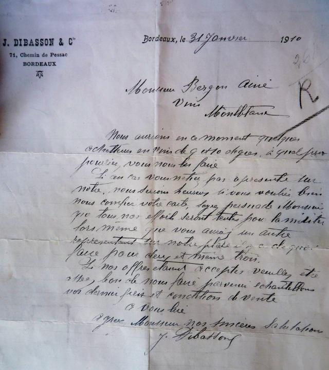 """Commande de vin """"de 9 ou 10 degrés"""" exhumée par Georgette, datée de 1910 ! On notera également que le Cours du Maréchal Gallieni était le """"Chemin de Pessac"""""""
